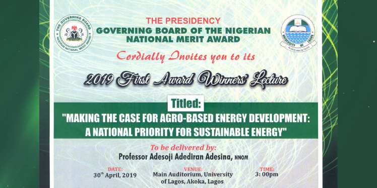 2019 First Award Winners' Lecture – University of Lagos